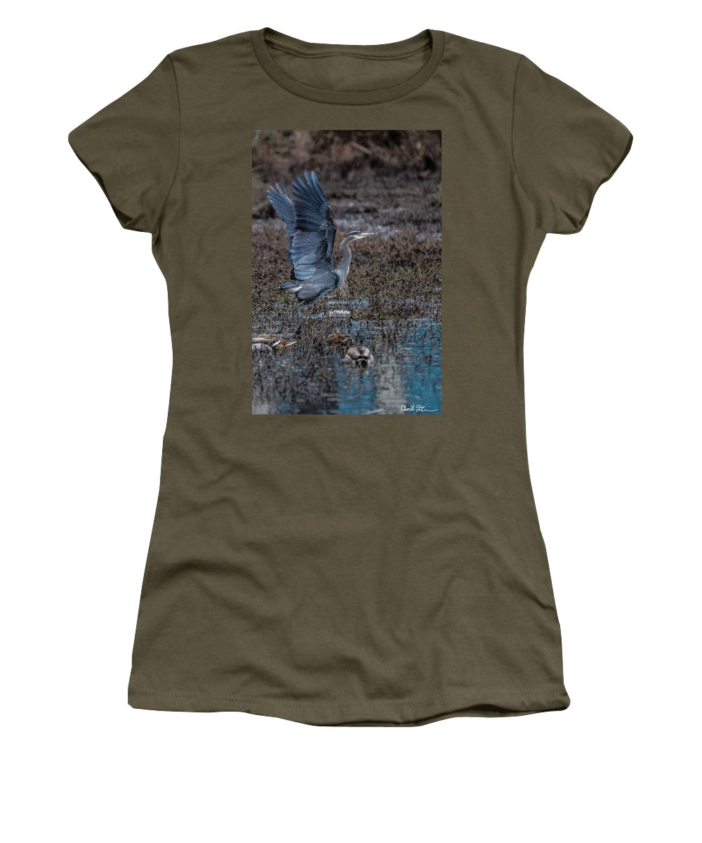 Blue Women's T-Shirt featuring the photograph Poised For Flight by Charlie Duncan