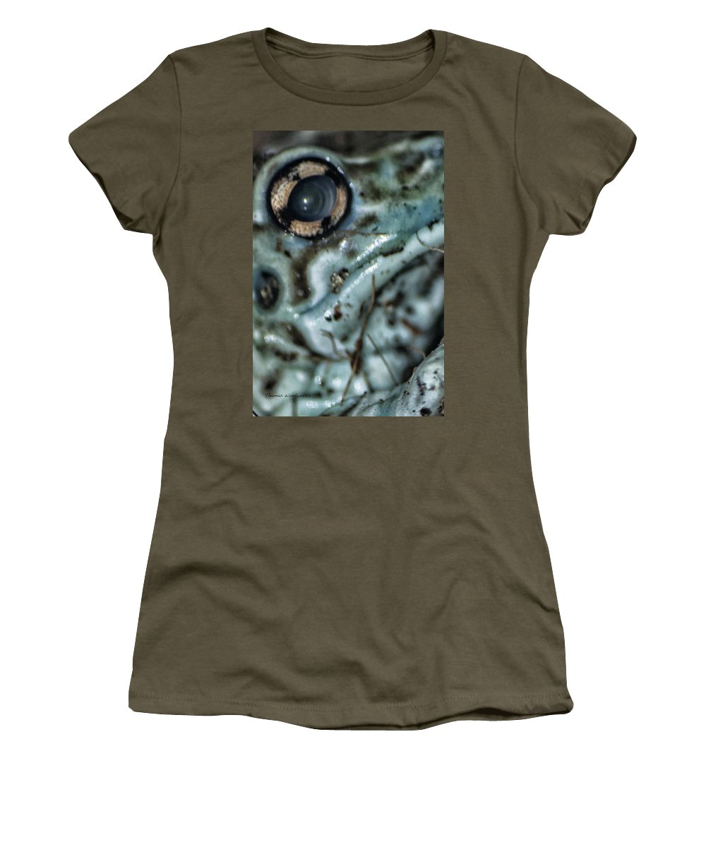 Frog Eye Women's T-Shirt (Athletic Fit) featuring the photograph Poisonous Frog Eye by Thomas Woolworth