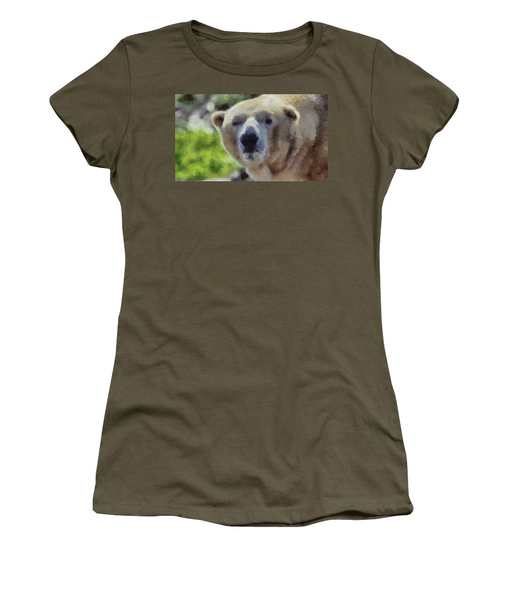 Polar Bear Portrait Women's T-Shirt featuring the painting Polar Bear by Dan Sproul