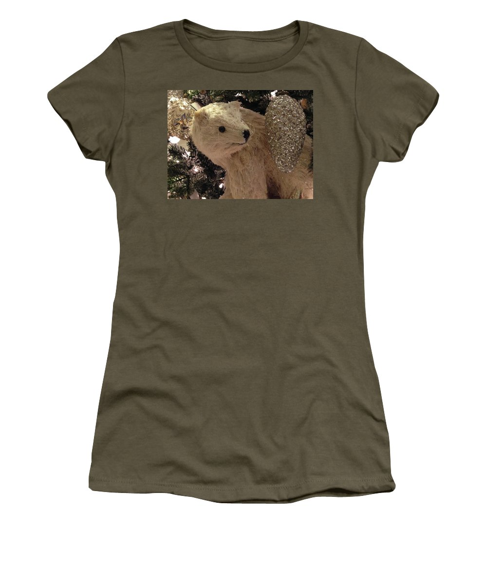 Tree Women's T-Shirt featuring the photograph Polar Bear With Ornaments by Hope VanCleaf