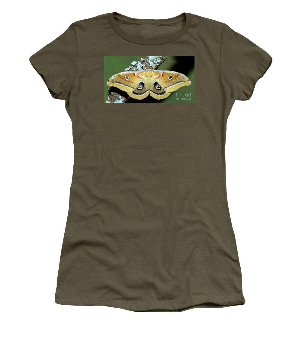 Polyphemus Moth Women's T-Shirt featuring the photograph Polyphemus Moth by Millard H. Sharp
