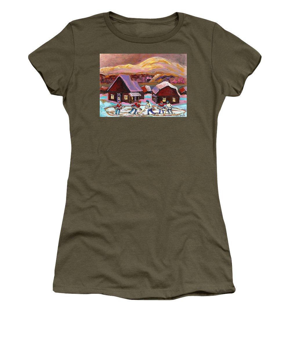 Pond Hockey Women's T-Shirt featuring the painting Pond Hockey 1 by Carole Spandau