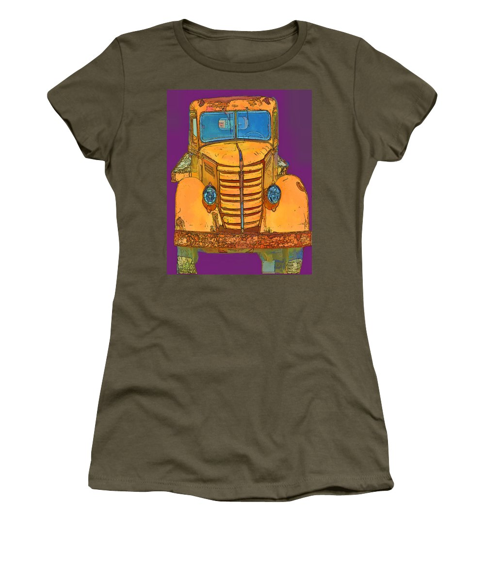 Old Truck Women's T-Shirt featuring the digital art Pop Old Truck by Cathy Anderson