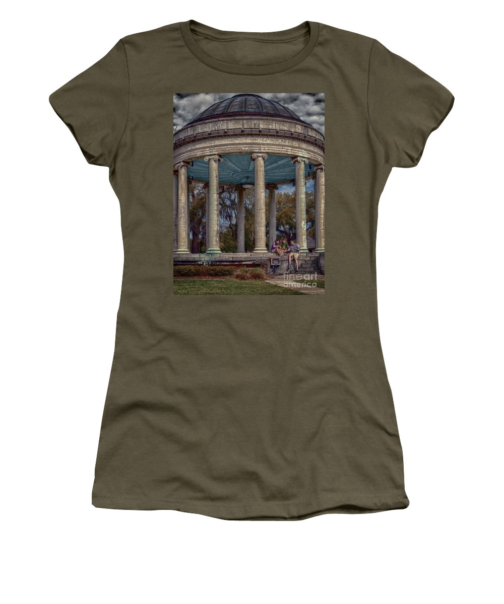 Columns Women's T-Shirt featuring the photograph Popps Bandstand In City Park Nola by Kathleen K Parker