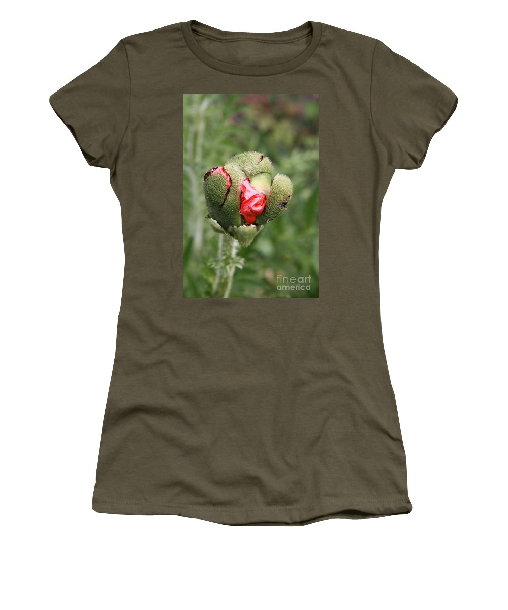 Flowers Women's T-Shirt (Athletic Fit) featuring the photograph Poppybud by Christiane Schulze Art And Photography