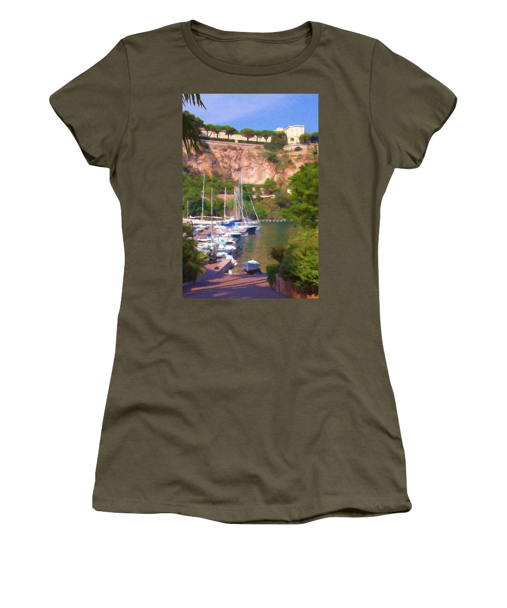 Blue Women's T-Shirt featuring the painting Port And Palace by Jeffrey Kolker
