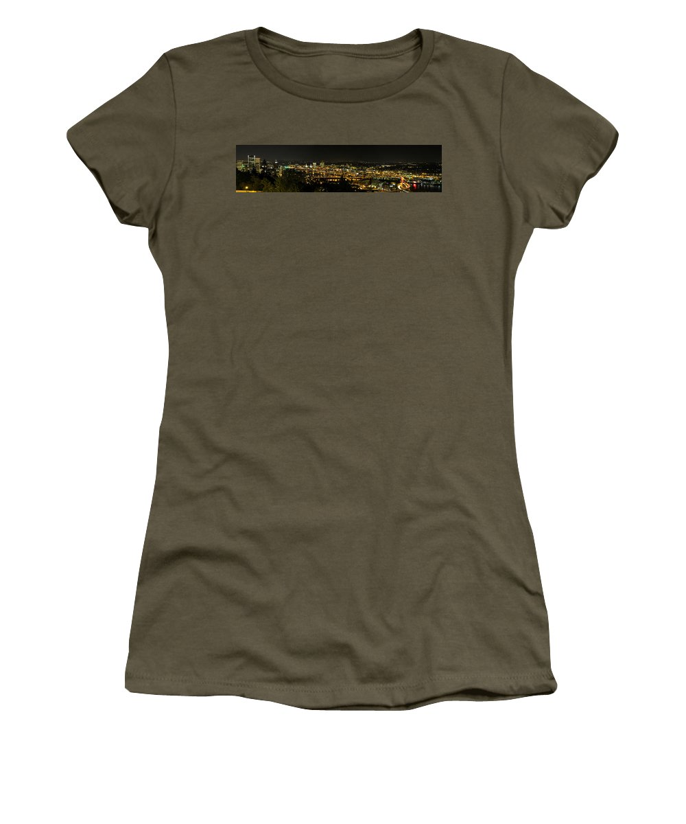 Portland Women's T-Shirt featuring the photograph Portland Night Skyline Along Willamette River Panorama by David Gn
