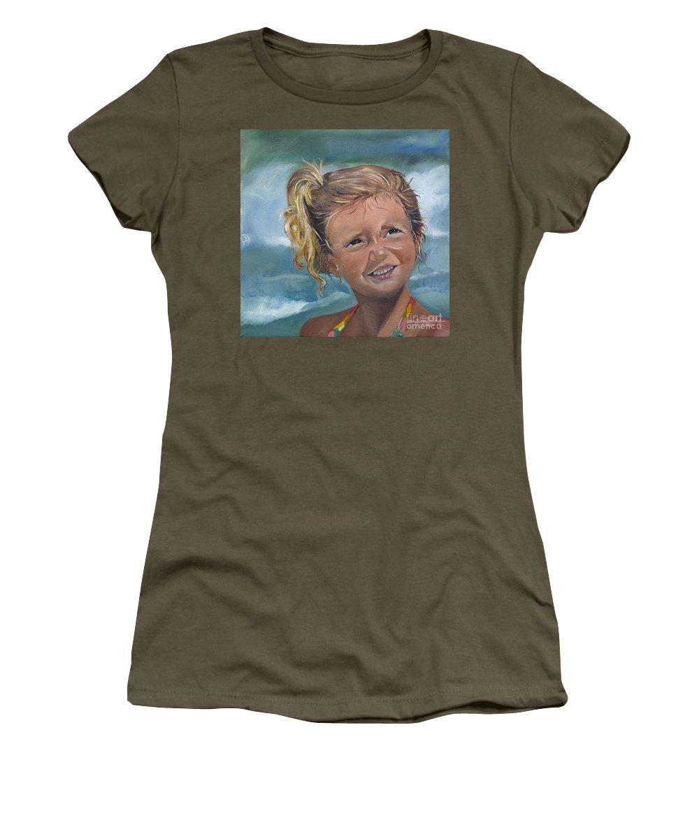Portrait Women's T-Shirt featuring the painting Portrait - Emma - Beach by Jan Dappen