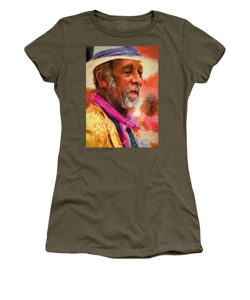 Man Women's T-Shirt (Athletic Fit) featuring the photograph Portrait Of Dr. Luv - Painting by Kathleen K Parker