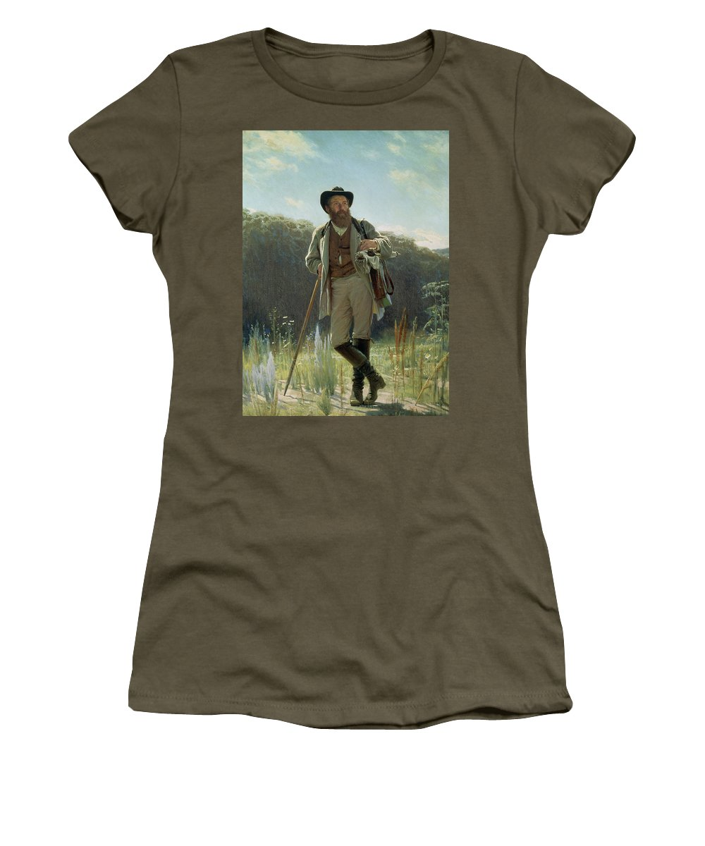 Male Women's T-Shirt (Athletic Fit) featuring the painting Portrait Of Ivan Ivanovich Shishkin by Ivan Nikolaevich Kramskoy