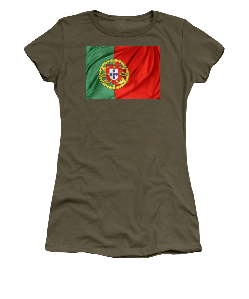 Portugal Flag Women's T-Shirt featuring the photograph Portuguese Flag by Les Cunliffe