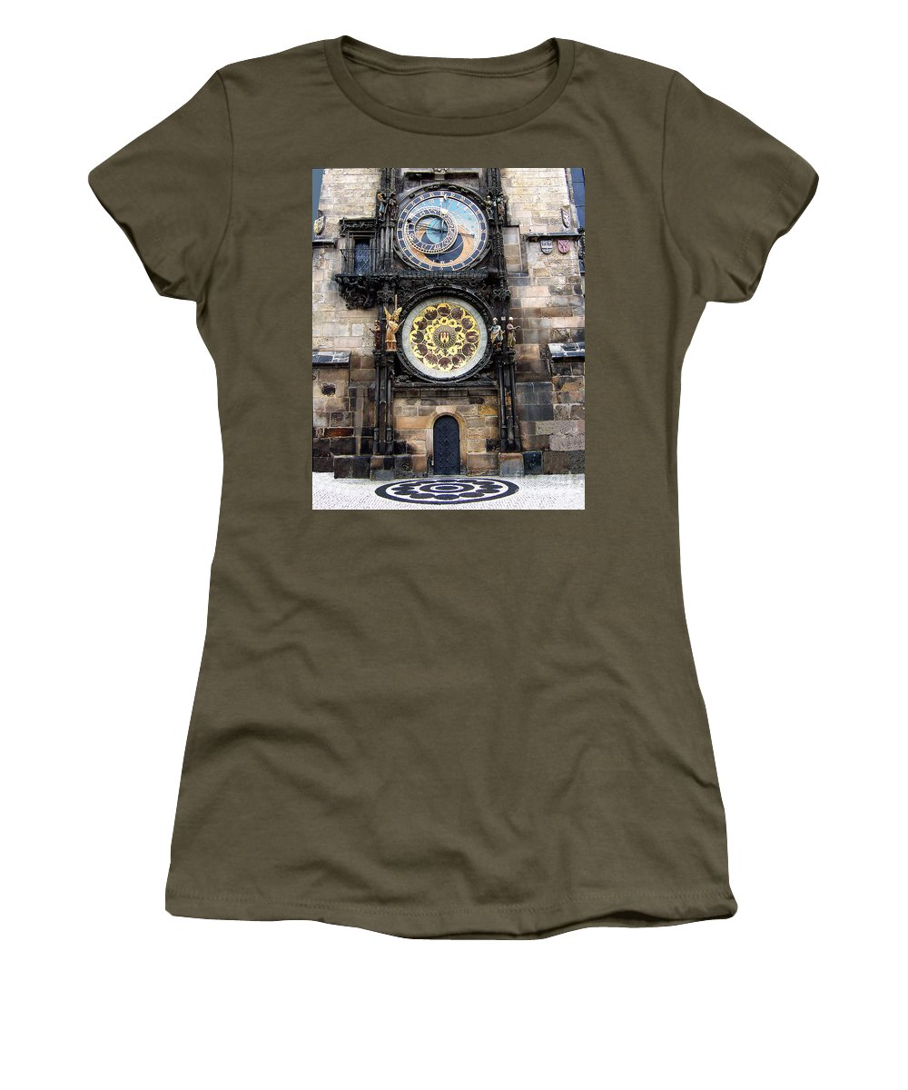 Astrology Women's T-Shirt featuring the photograph Prague Astronomical Clock by Tom Conway