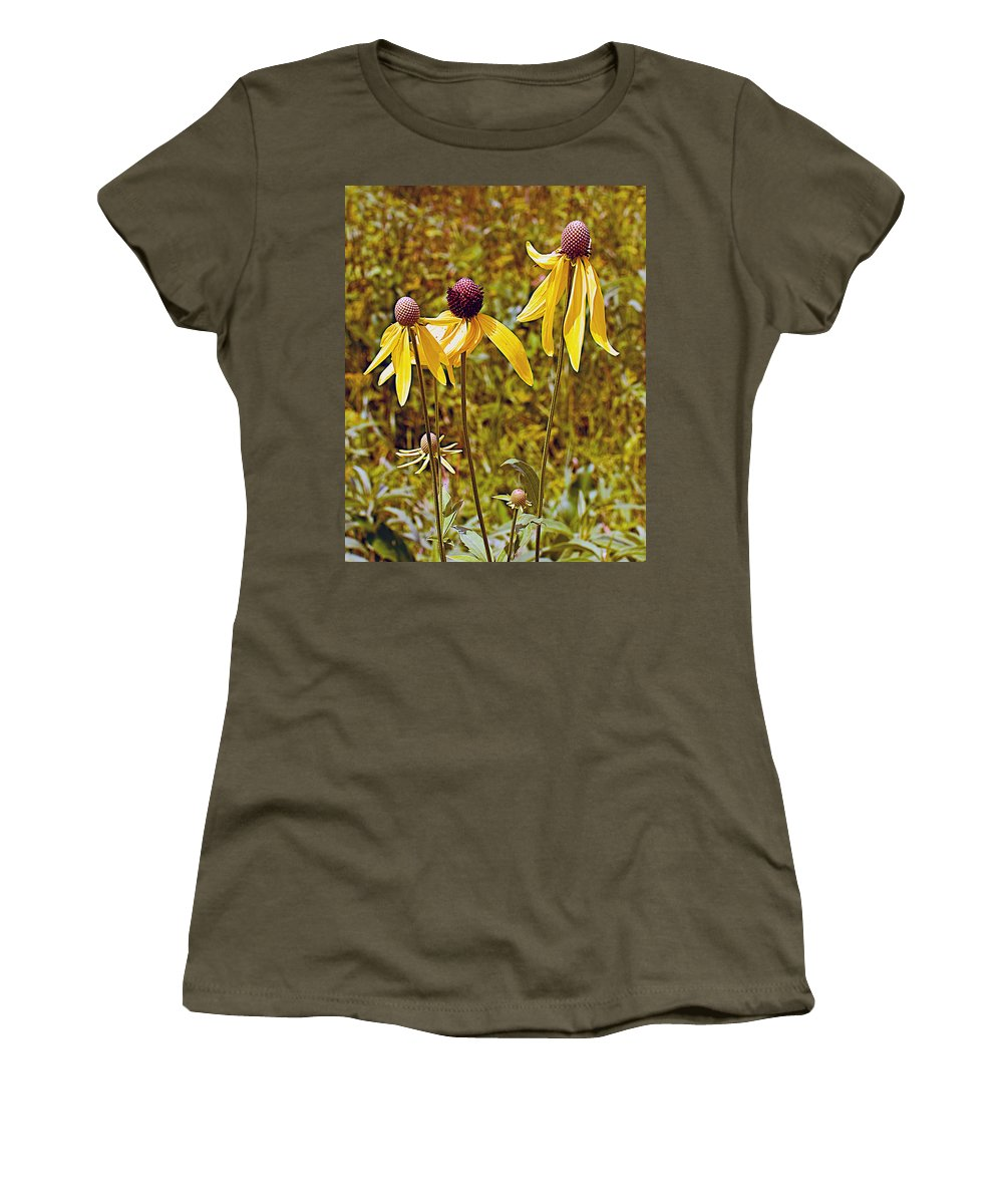 Prairie Coneflowers In Pipestone National Monument Women's T-Shirt featuring the photograph Prairie Coneflowers In Pipestone National Monument-minnesota by Ruth Hager