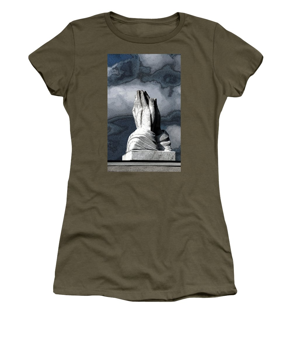 Vertical Women's T-Shirt featuring the photograph Praying Hands by Sally Rockefeller