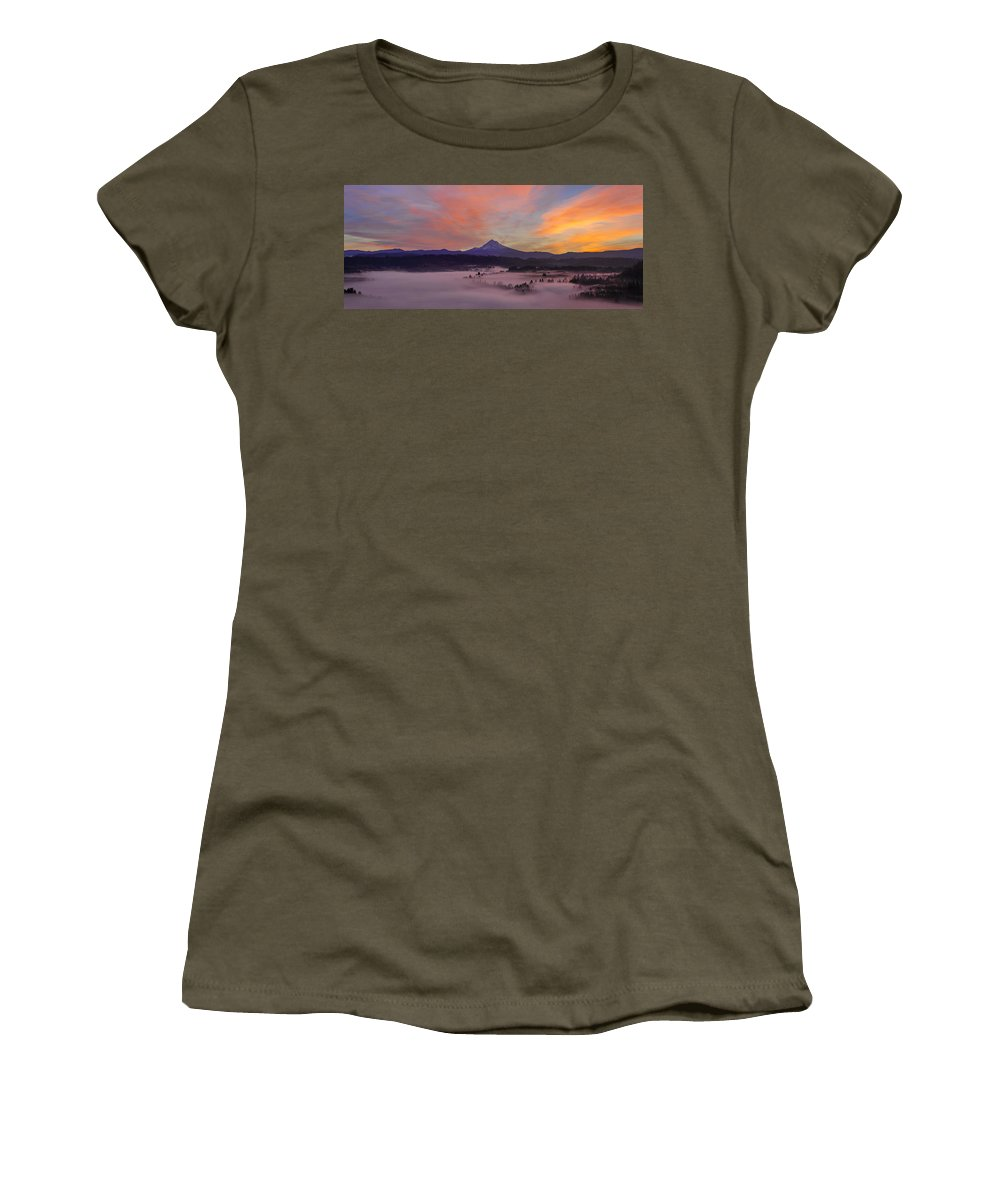 Jonsrud Women's T-Shirt (Athletic Fit) featuring the photograph Pre Sunrise Over Mount Hood Panorama by Jit Lim