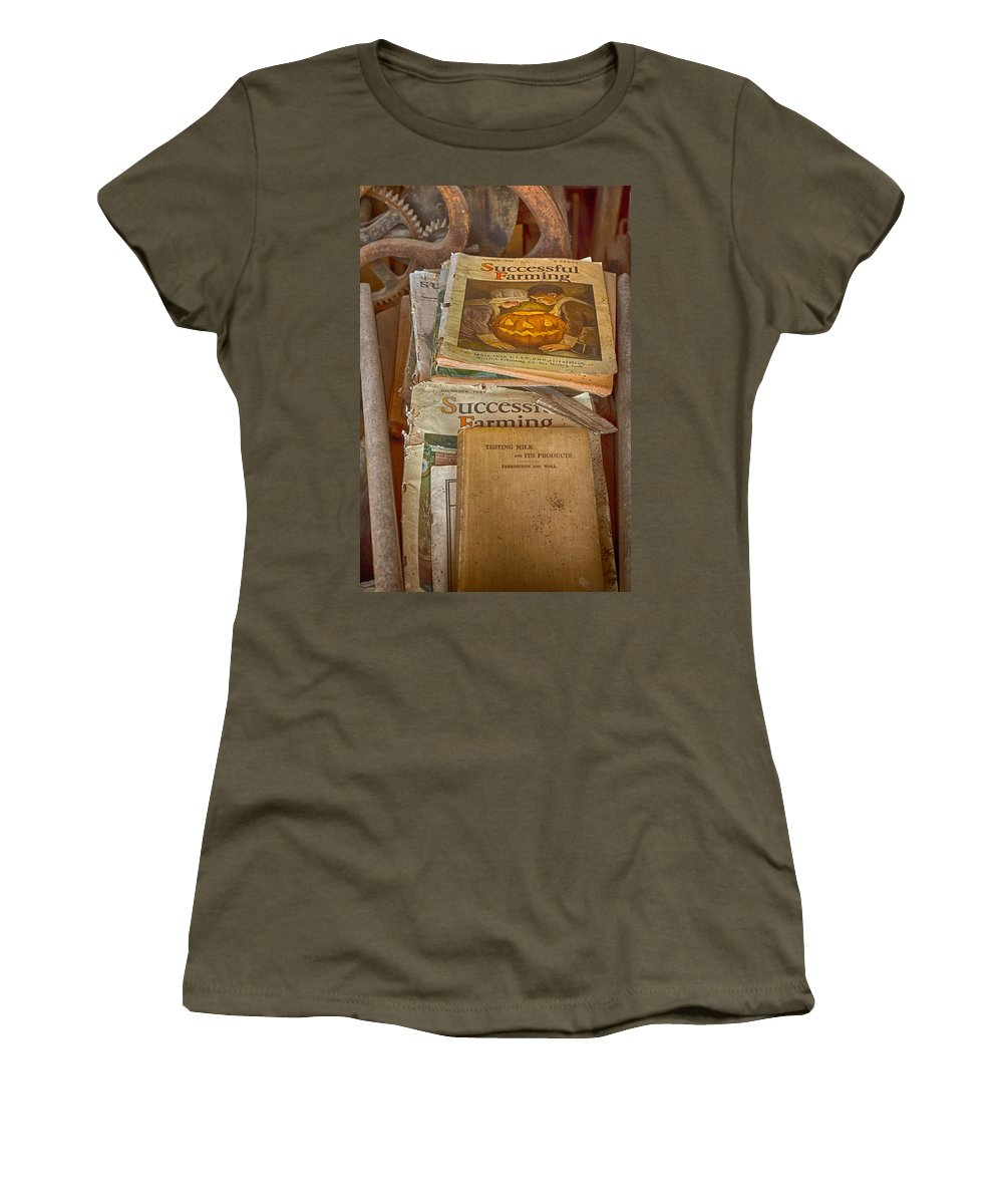 Farm Magazine Women's T-Shirt featuring the photograph Preferred Reading Material by Jeff Folger