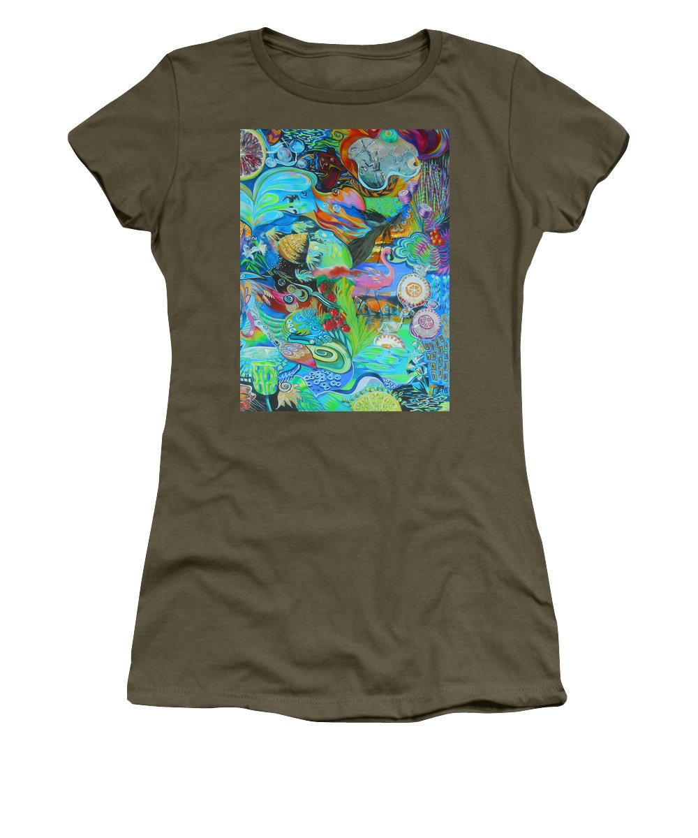 Flamingo Women's T-Shirt featuring the painting Pretty Flamingo by Lucia Hoogervorst