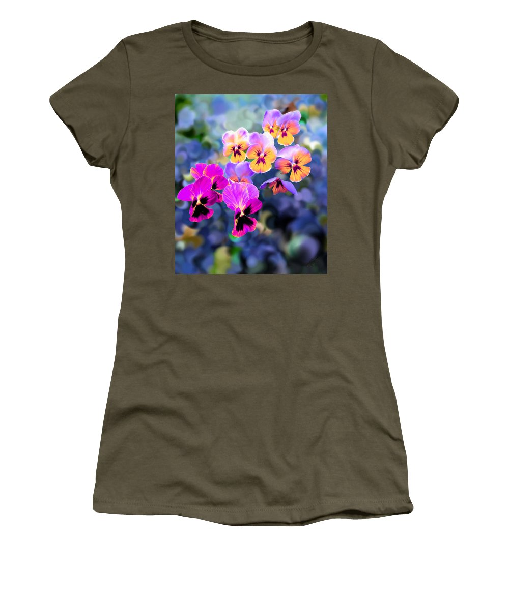 Violet Women's T-Shirt featuring the painting Pretty Pansies 3 by Bruce Nutting
