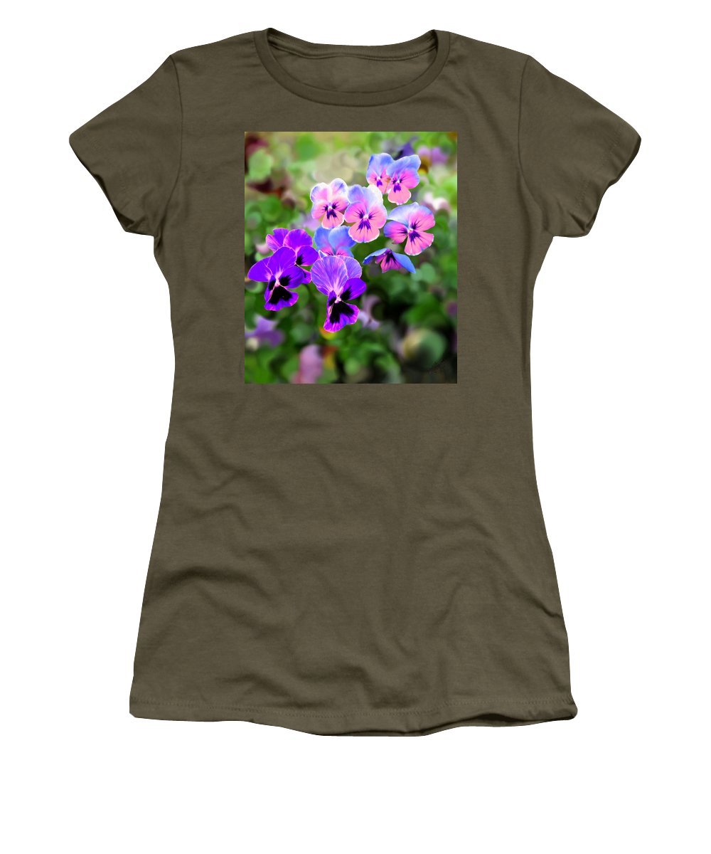 Purple Women's T-Shirt featuring the painting Pretty Pansies 4 by Bruce Nutting