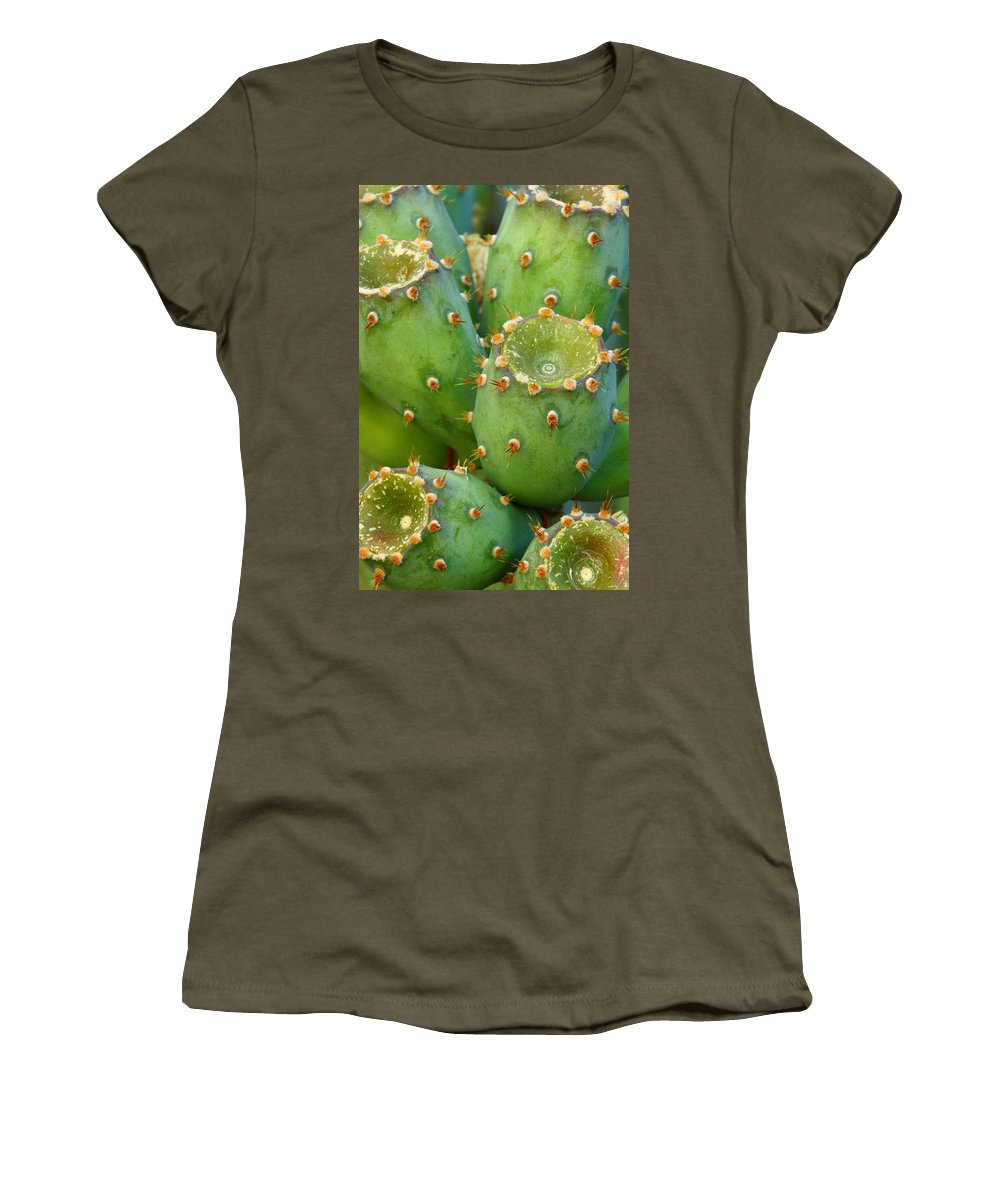Cactus Women's T-Shirt featuring the photograph Prickly Pear Cactus 2am-105306 by Andrew McInnes