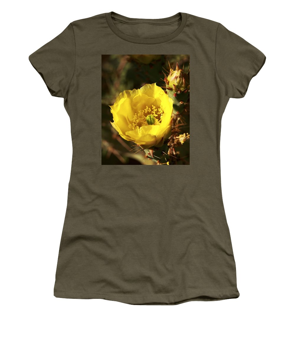 Cactus Women's T-Shirt featuring the photograph Prickly Pear Flower by Alan Vance Ley