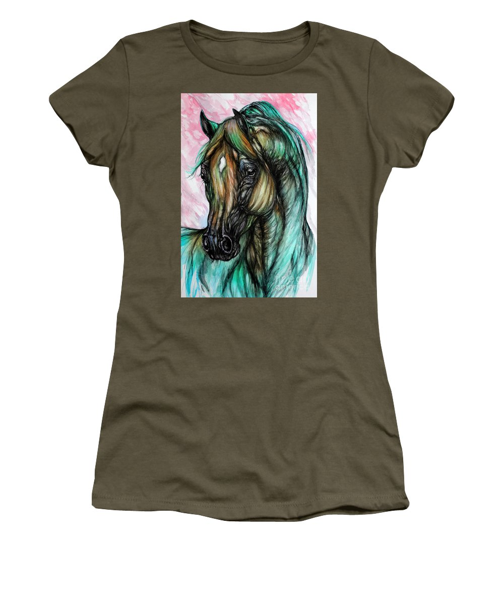 Horse Women's T-Shirt (Athletic Fit) featuring the painting Psychodelic Pink And Green by Angel Ciesniarska