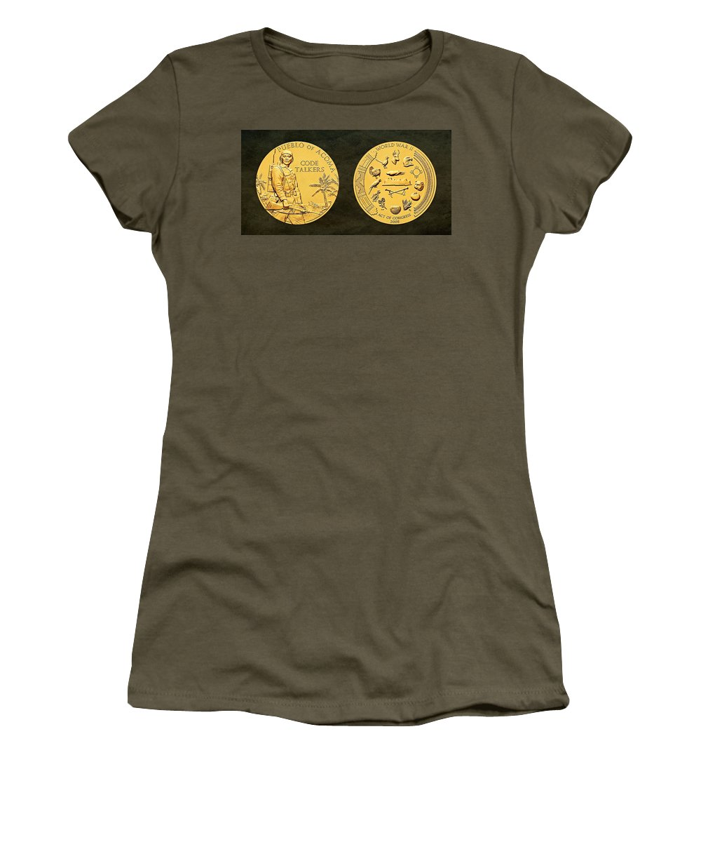 Pueblo Of Acoma Women's T-Shirt featuring the photograph Pueblo Of Acoma Tribe Code Talkers Bronze Medal Art by Movie Poster Prints