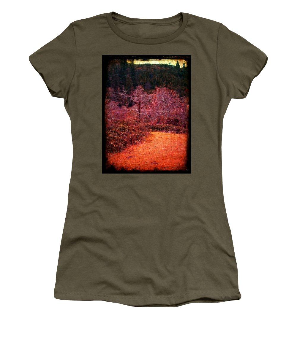 Orange Women's T-Shirt featuring the mixed media Pumpkin Spice Winter by Absinthe Art By Michelle LeAnn Scott