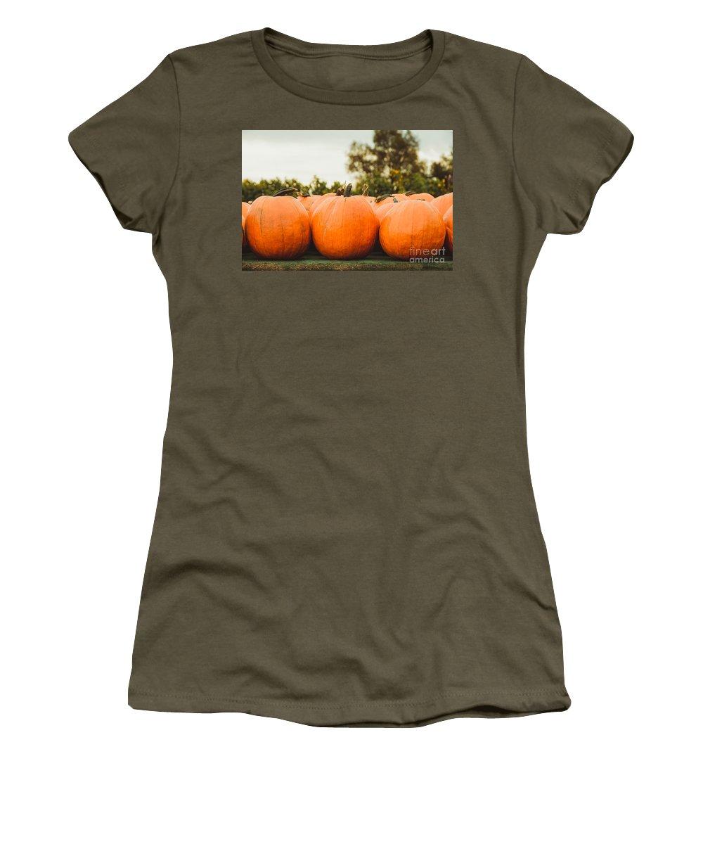 Pumpkins Women's T-Shirt featuring the photograph Pumpkins by Mary Smyth