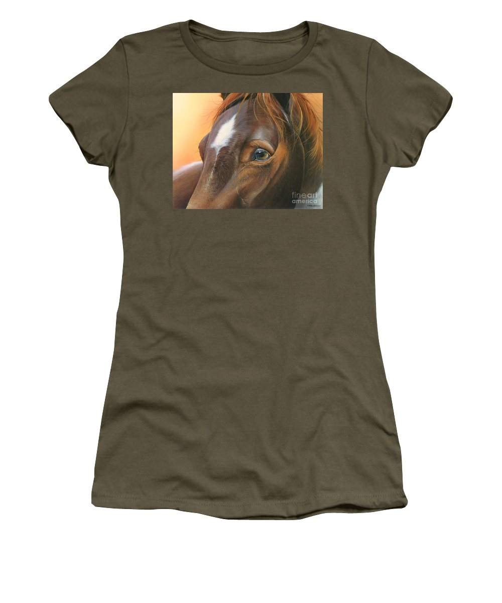 Horse Women's T-Shirt featuring the painting Pure Grace by Mike Brown