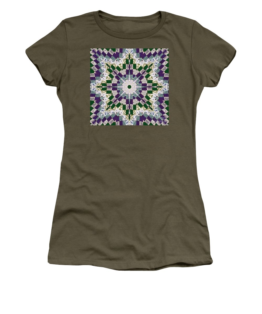 Patchwork Women's T-Shirt featuring the photograph Purple And Green Patchwork Art by Barbara Griffin
