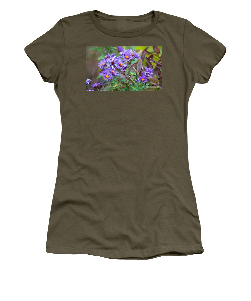 Purple Flowers Women's T-Shirt (Athletic Fit) featuring the photograph Purple Asters by Optical Playground By MP Ray