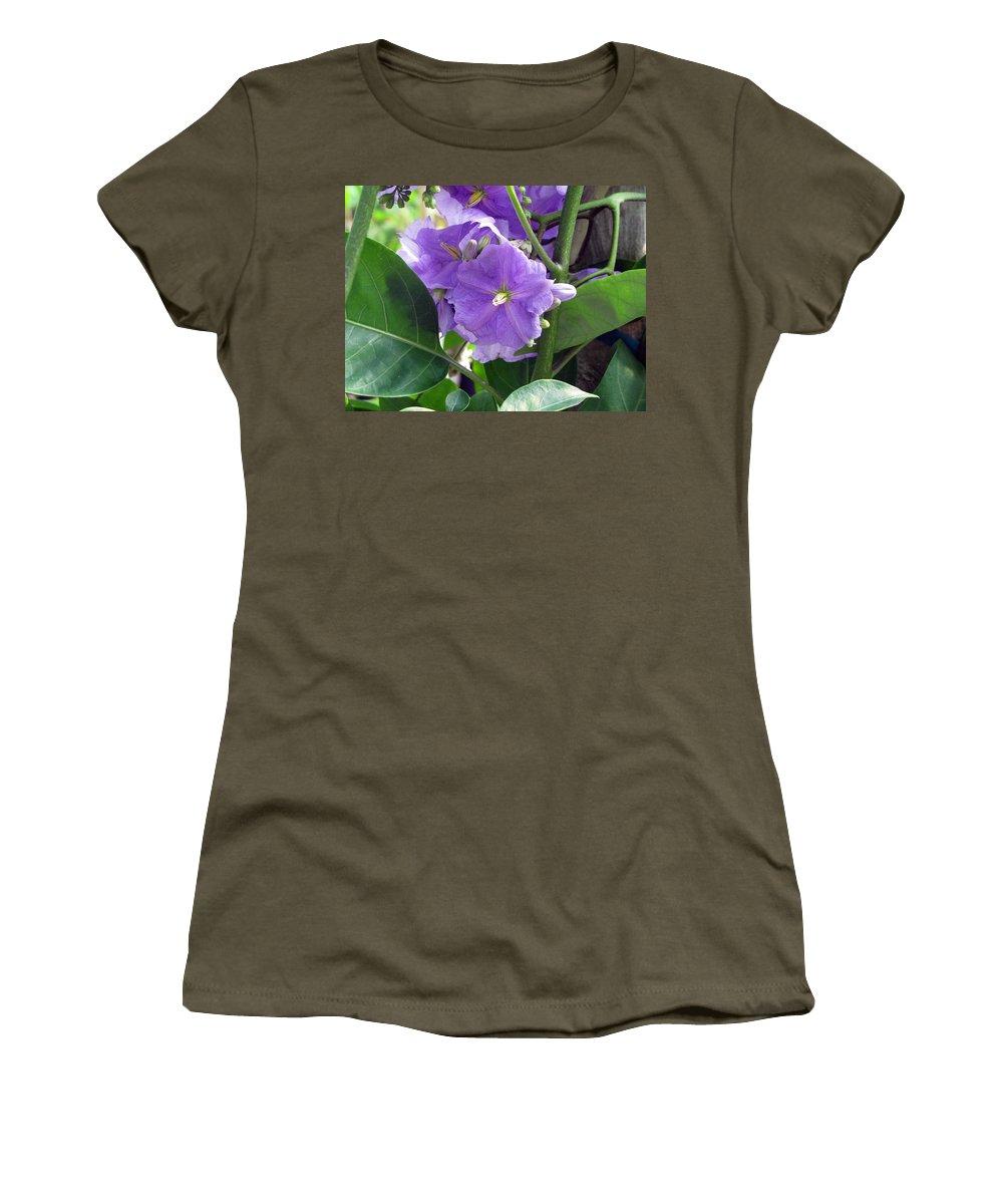 Blue Women's T-Shirt featuring the photograph Purple Hearts by Debi Singer