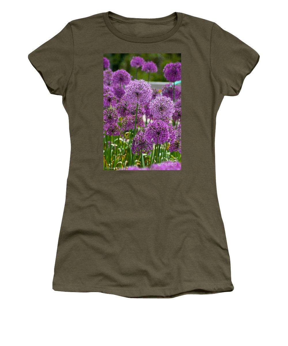 Flower Women's T-Shirt featuring the photograph Purple Pom Poms by Susan Herber