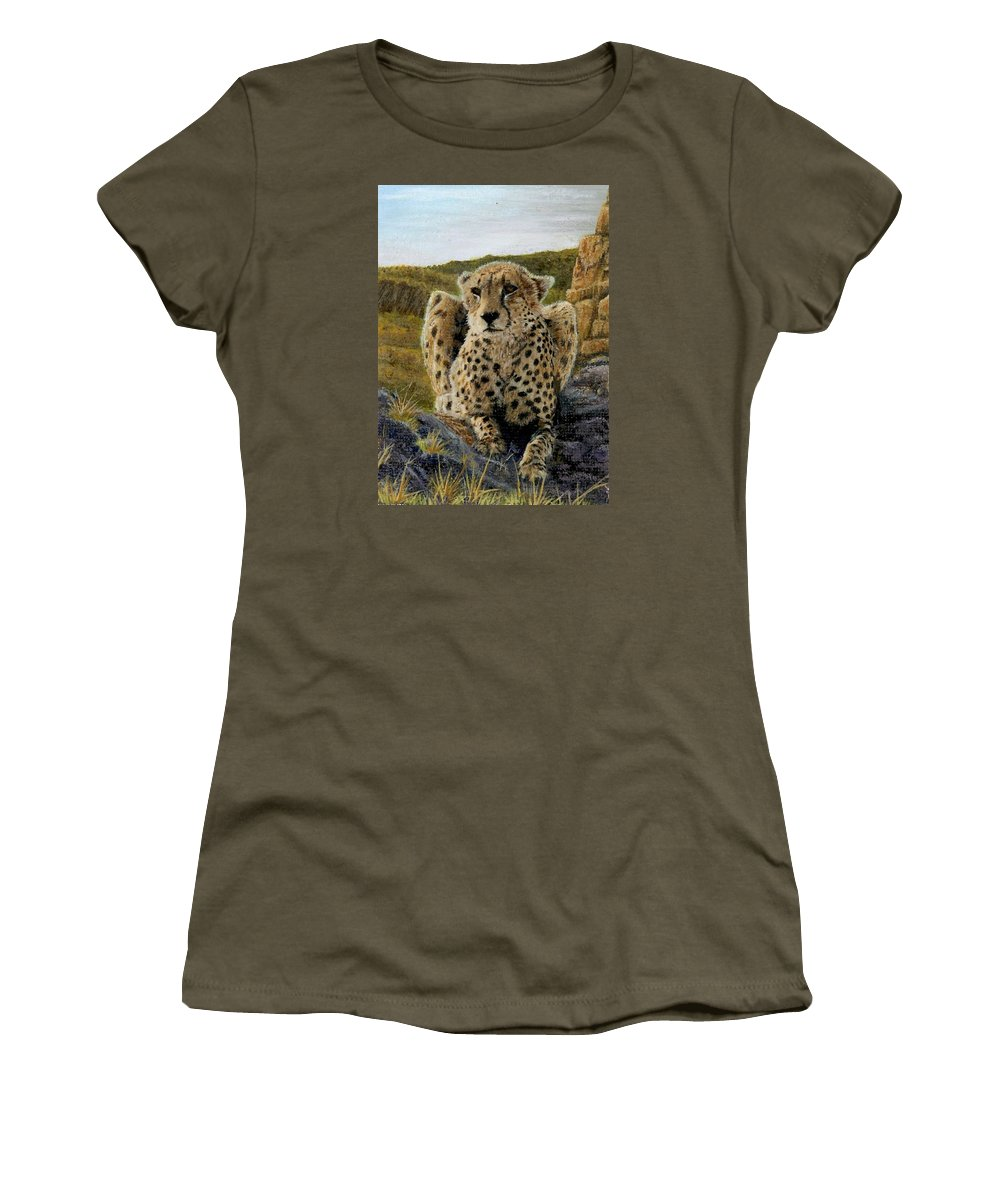 Jaguar Women's T-Shirt featuring the painting Purrfect View by Sherryl Lapping