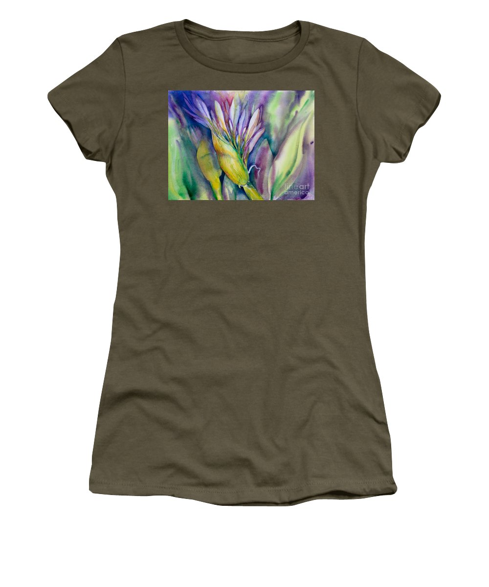 Flower Painting Women's T-Shirt featuring the painting Queen Emma's Lily Blossom by Deborah Pence