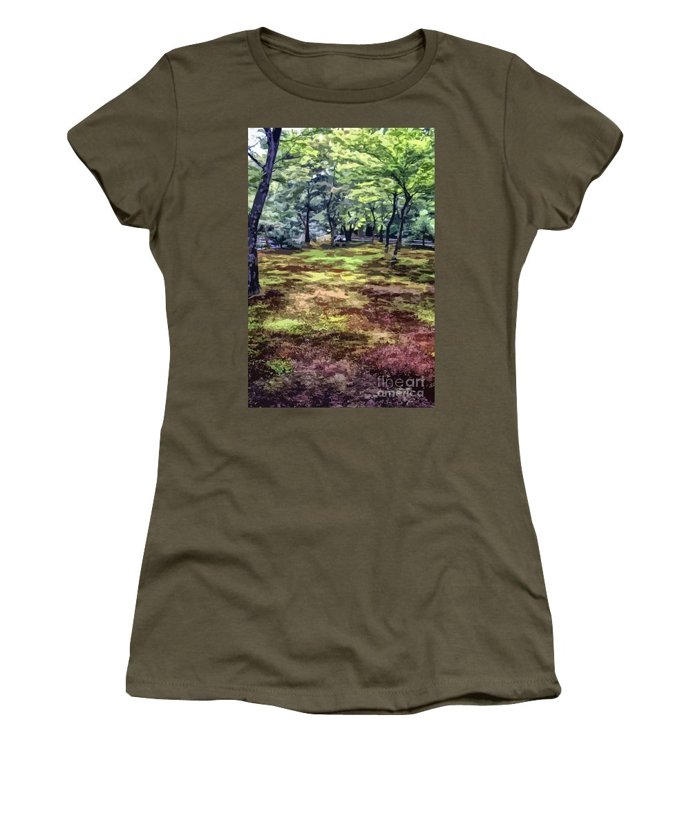 Abstract Women's T-Shirt featuring the photograph Quiet Forest by Stefan H Unger