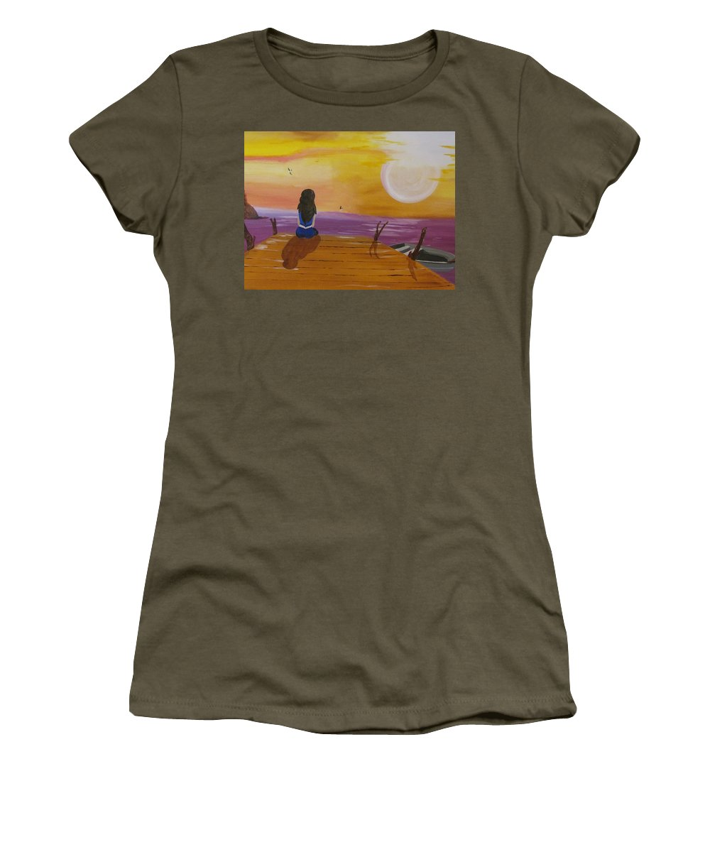 Boat Women's T-Shirt featuring the painting Quite Moments by Burma Brown