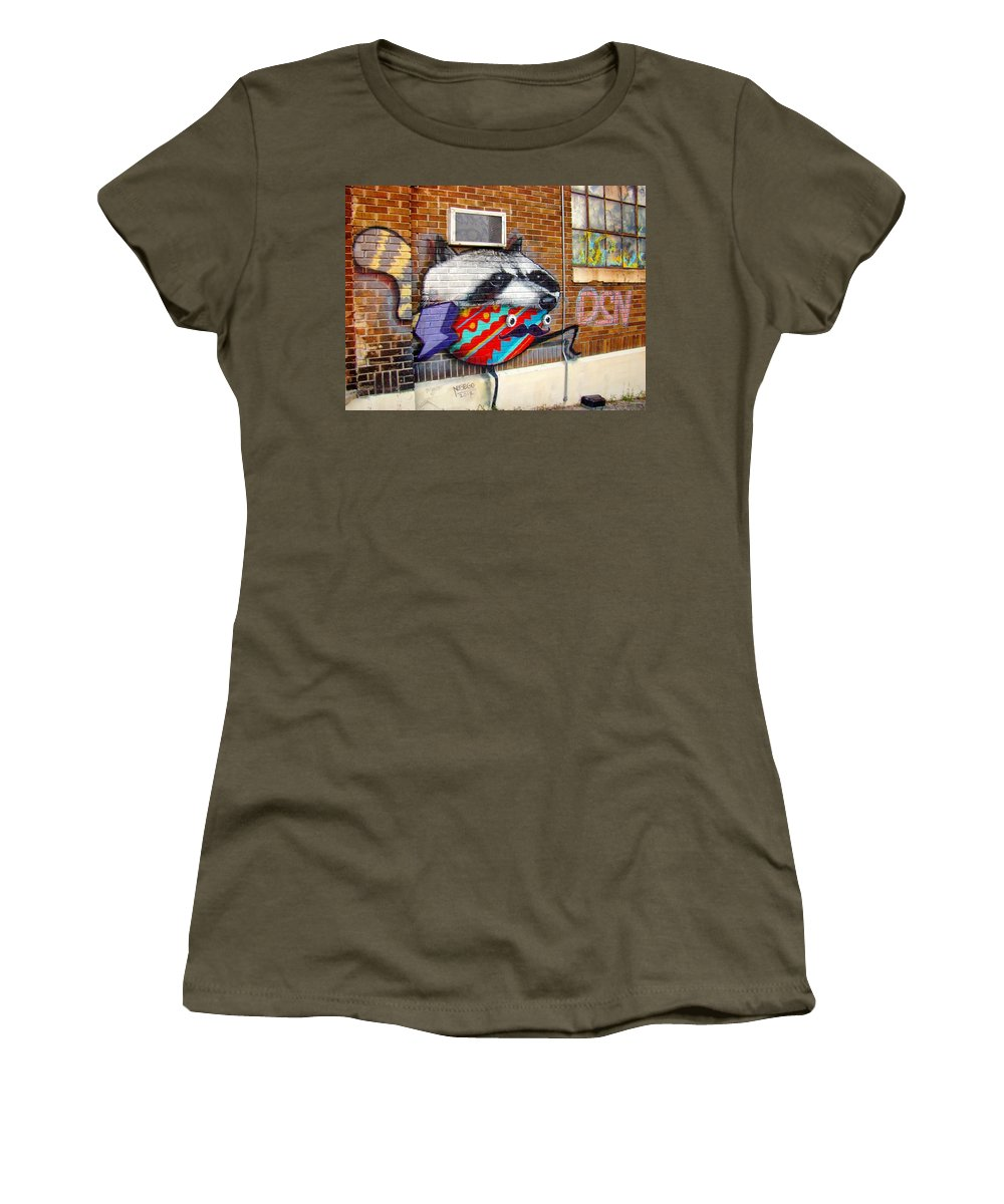 Raccoon Graffiti Women's T-Shirt featuring the photograph Raccoon On The Wall by Alice Gipson