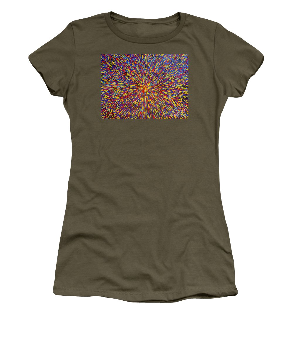 Abstract Women's T-Shirt (Athletic Fit) featuring the painting Radiation Blue by Dean Triolo