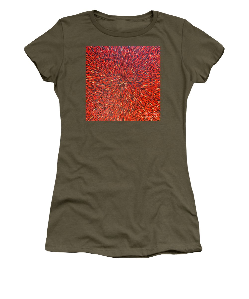 Abstract Women's T-Shirt (Athletic Fit) featuring the painting Radiation Red by Dean Triolo
