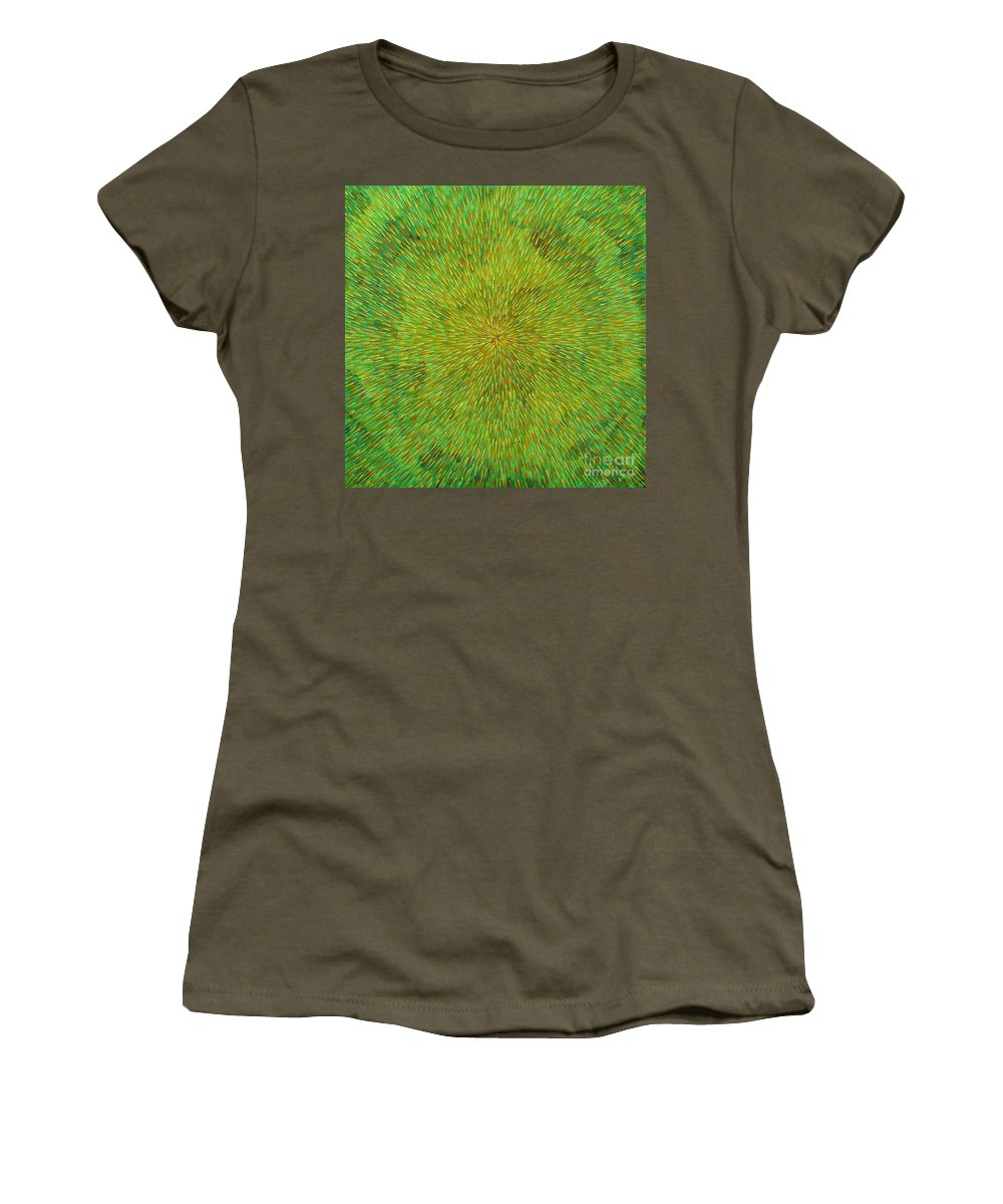 Abstract Women's T-Shirt (Athletic Fit) featuring the painting Radiation With Green Yellow And Orange by Dean Triolo
