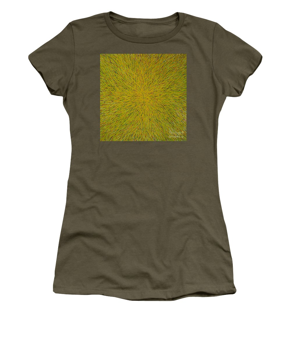 Abstract Women's T-Shirt (Athletic Fit) featuring the painting Radiation With Yellow Green And Red by Dean Triolo