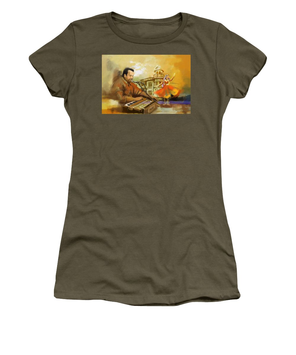 Zakir Women's T-Shirt featuring the painting Rahat Fateh Ali Khan by Catf