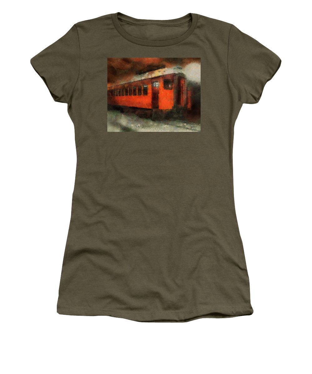 Transportation Women's T-Shirt featuring the photograph Railroad Gary Flyer Photo Art 03 by Thomas Woolworth