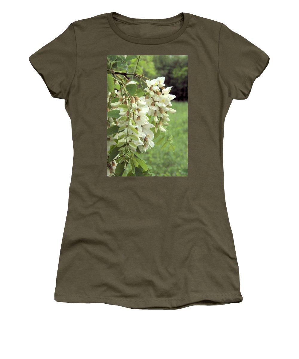 Flower Women's T-Shirt featuring the photograph Rain-spangled Locust Flowers by Valerie Kirkwood
