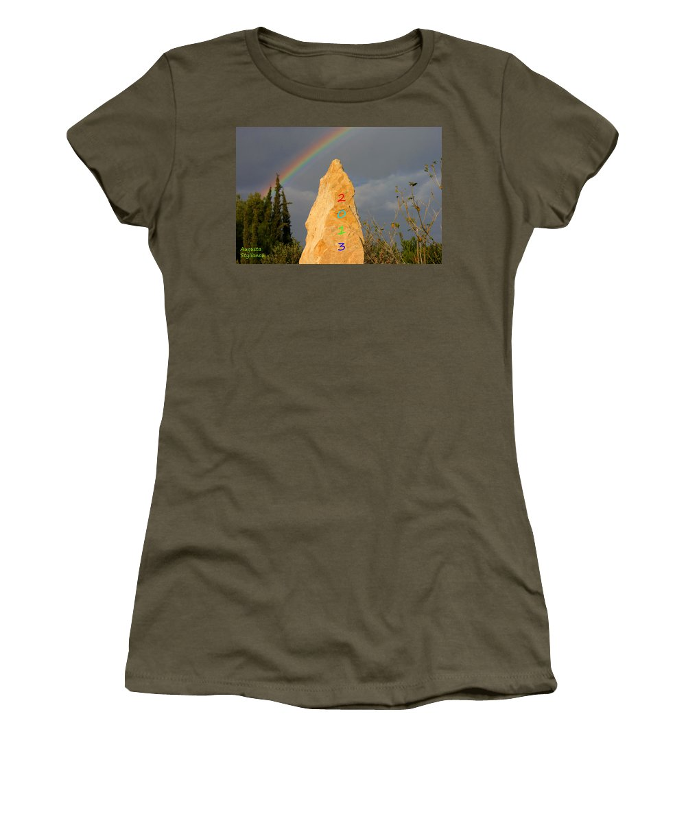 Rainbow Women's T-Shirt featuring the photograph Rainbow New Year 2013 by Augusta Stylianou