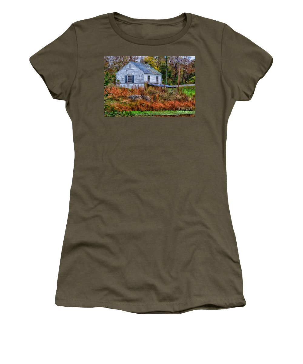 Rain Women's T-Shirt featuring the photograph Rainbow Roof by Scott Hervieux