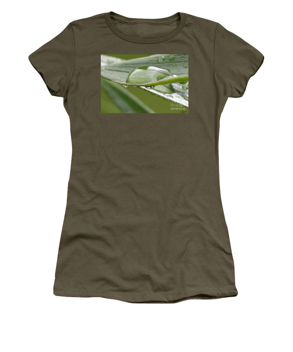 Raindrop Women's T-Shirt featuring the photograph Raindrops by Carol Lynch