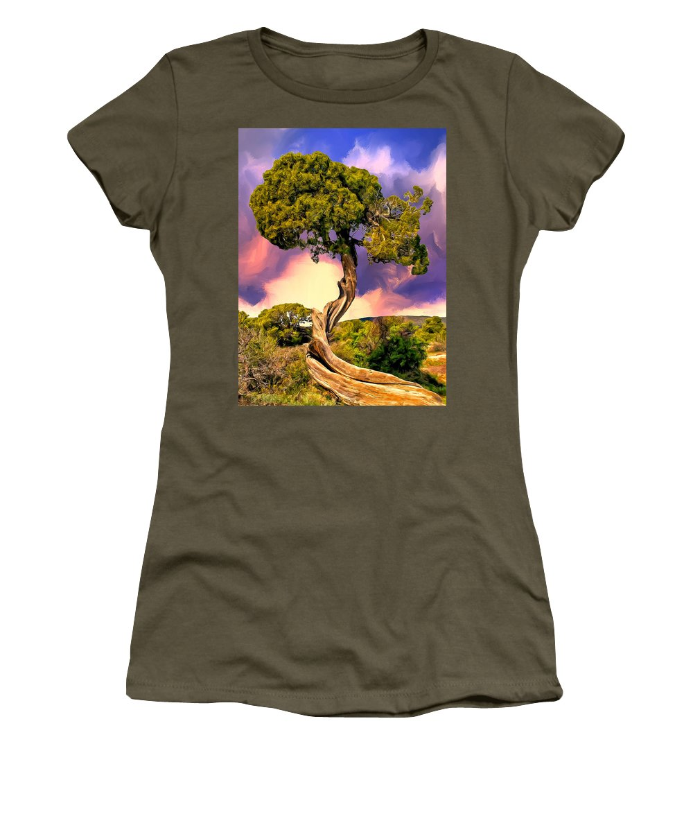 Tree Women's T-Shirt featuring the painting Reaching For The Sky by Dominic Piperata